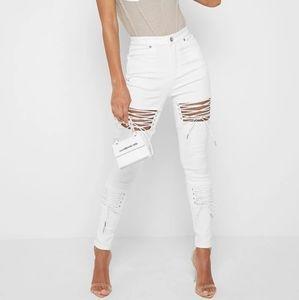 Maniere de voir white lace up jeans